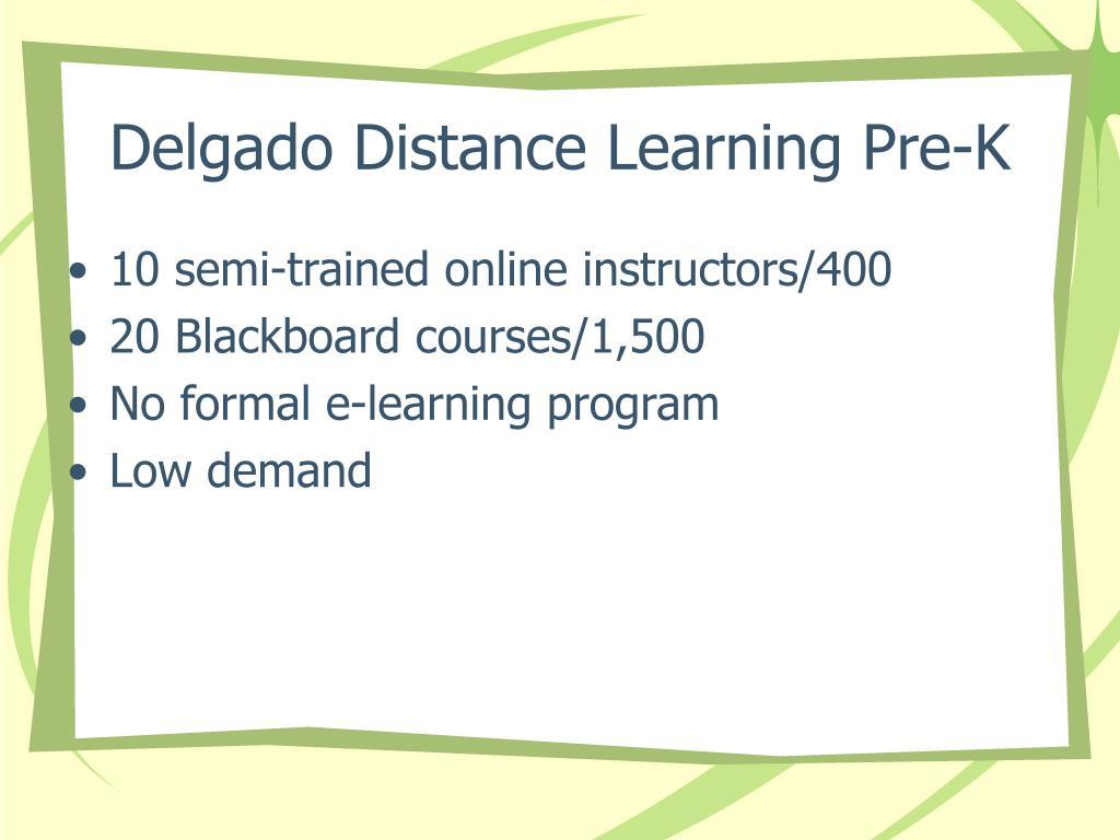 Delgado Distance Learning Pre-K