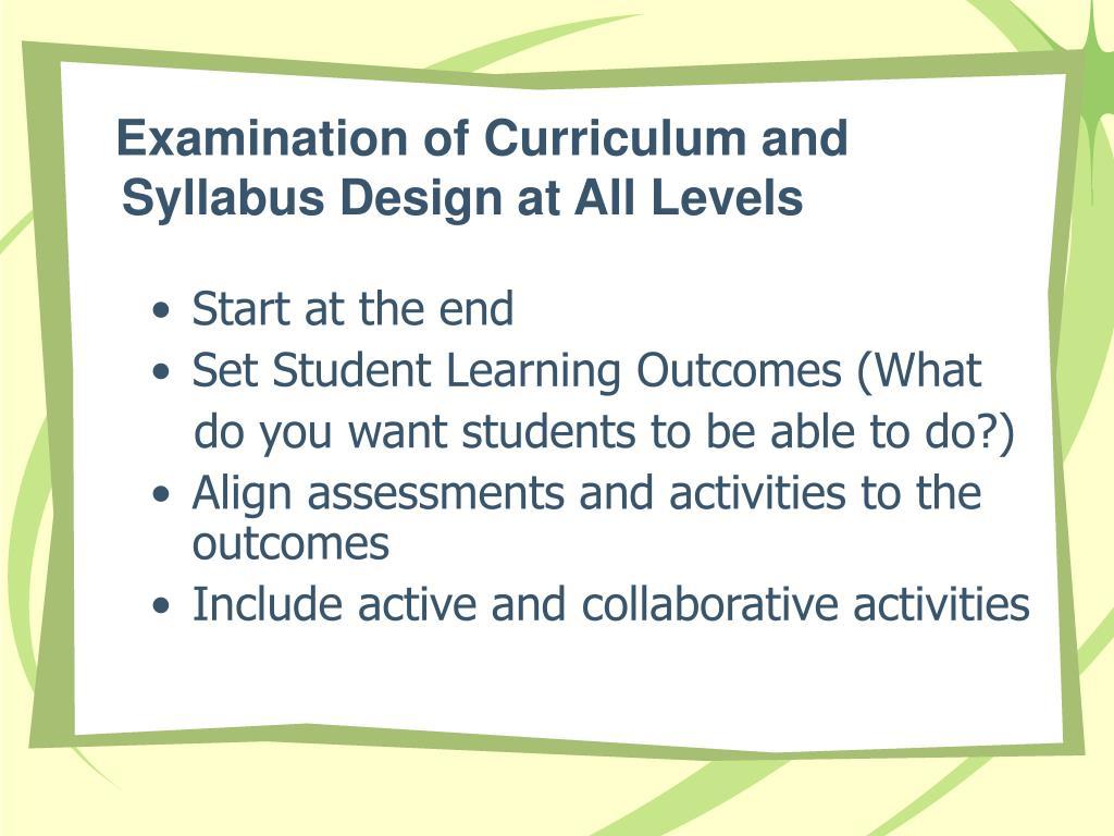 Examination of Curriculum and