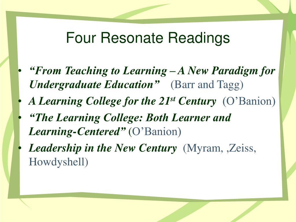 Four Resonate Readings