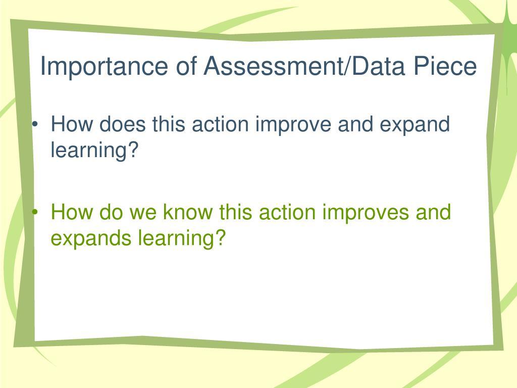 Importance of Assessment/Data Piece
