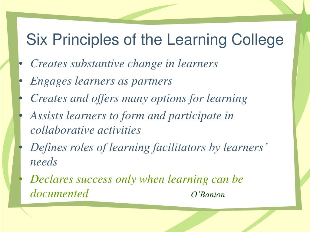 Six Principles of the Learning College