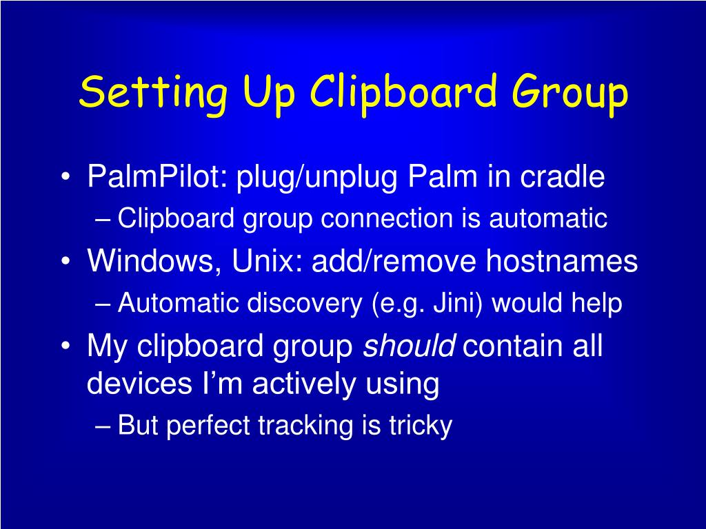 Setting Up Clipboard Group