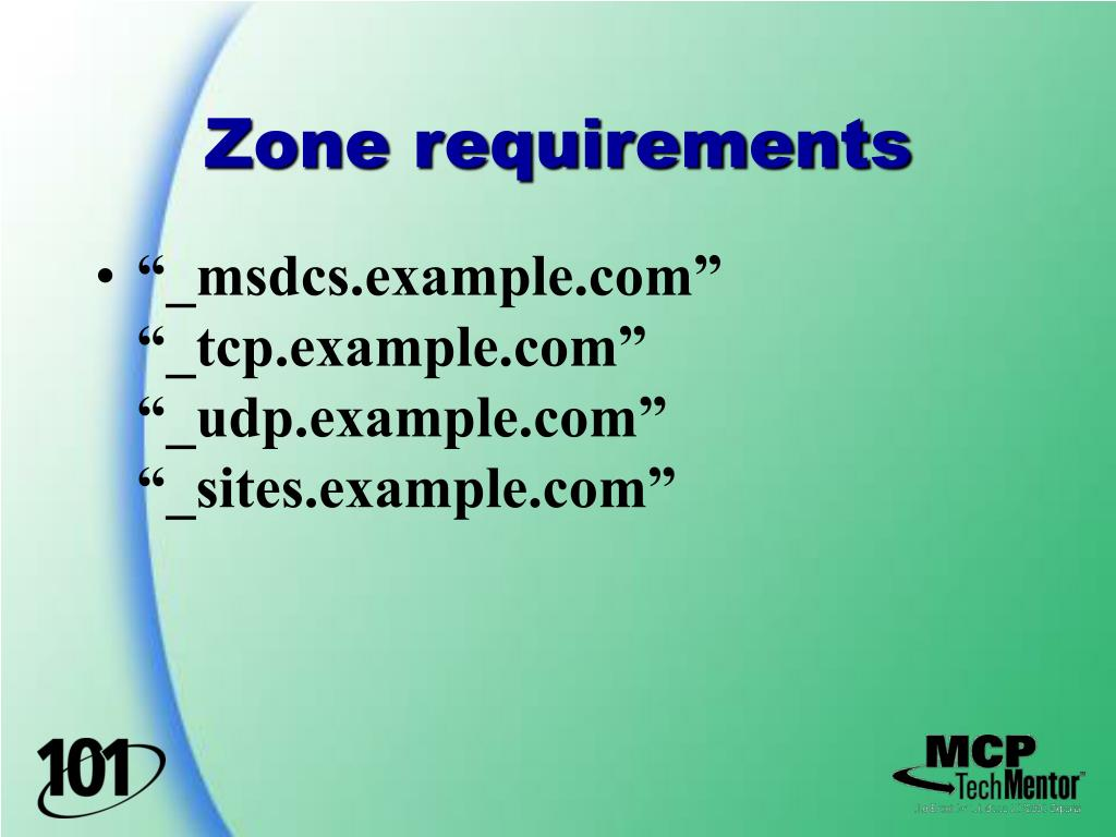 Zone requirements