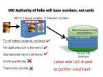 uid authority of india will issue numbers not cards
