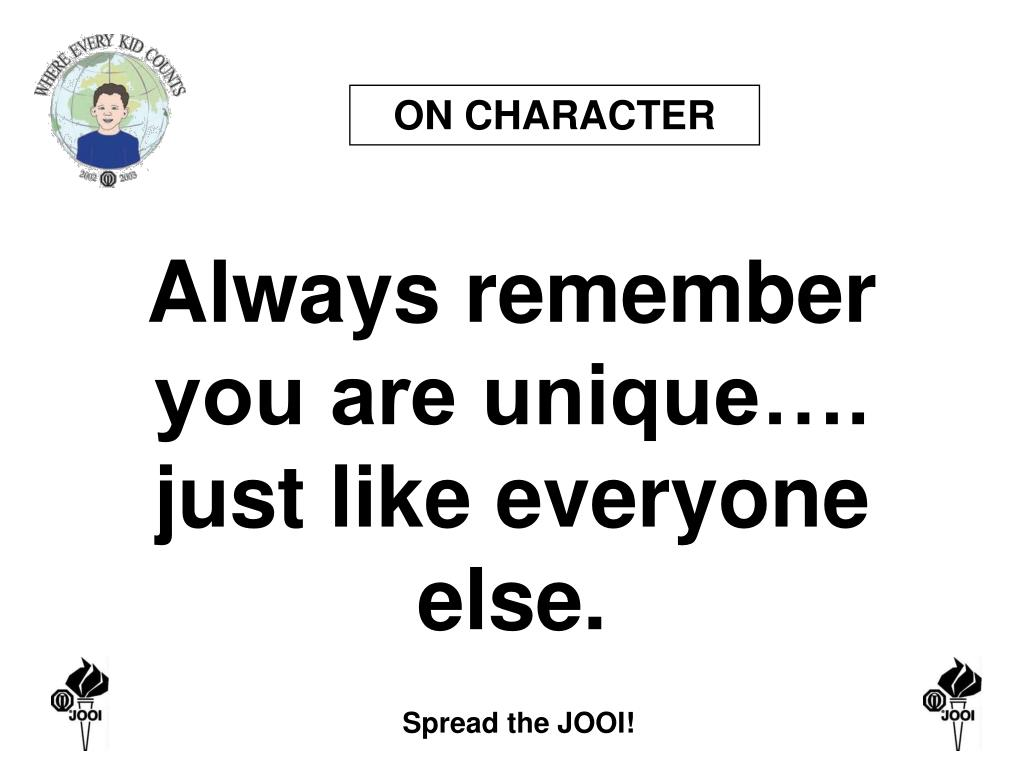 ON CHARACTER