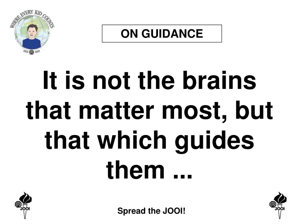 ON GUIDANCE