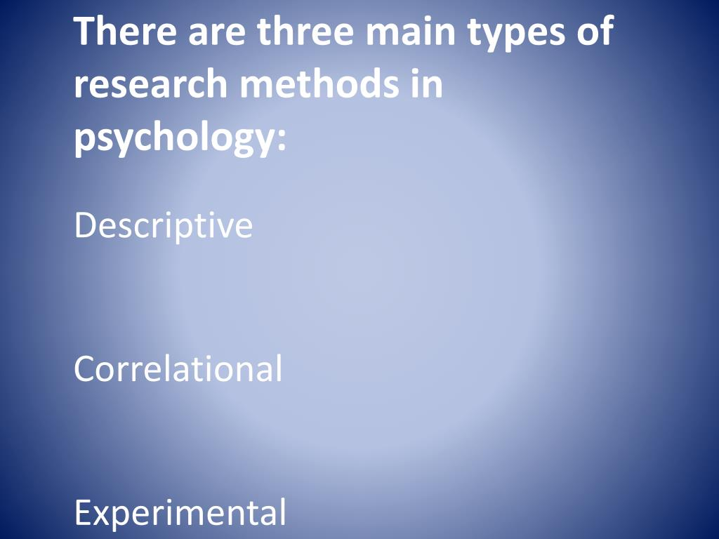 There are three main types of research methods in psychology: