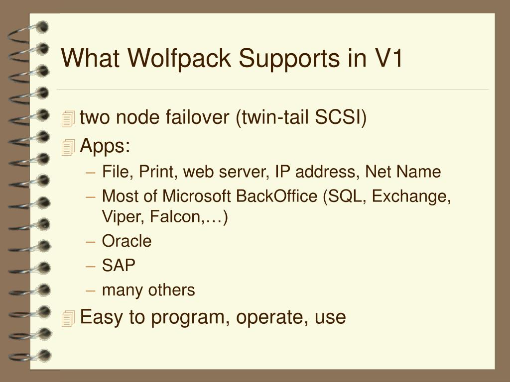 What Wolfpack Supports in V1