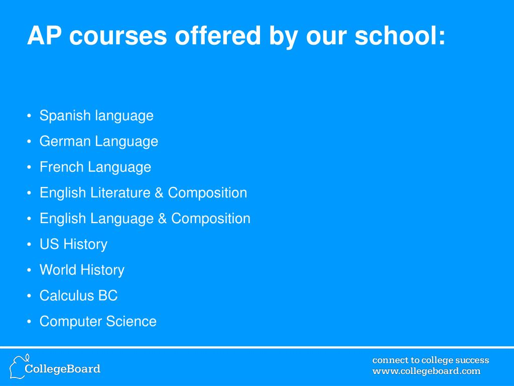 AP courses offered by our school: