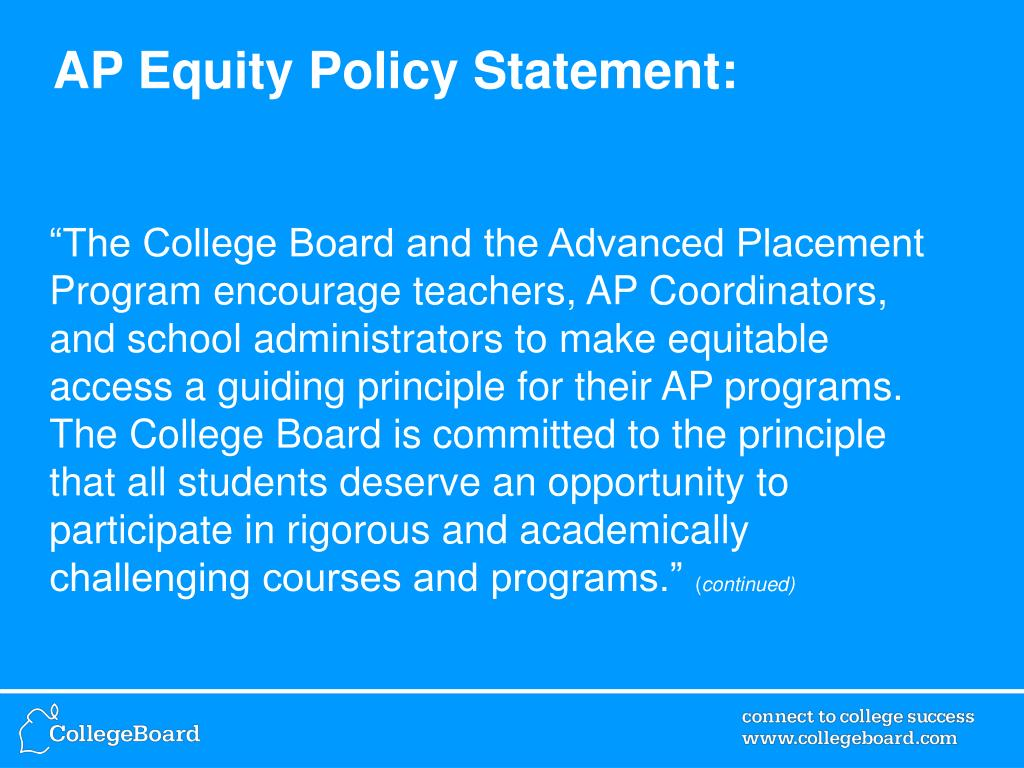 AP Equity Policy Statement: