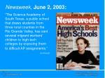 newsweek june 2 2003