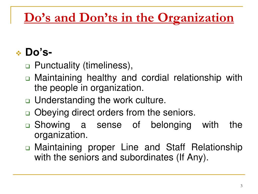 Do's and Don'ts in the Organization