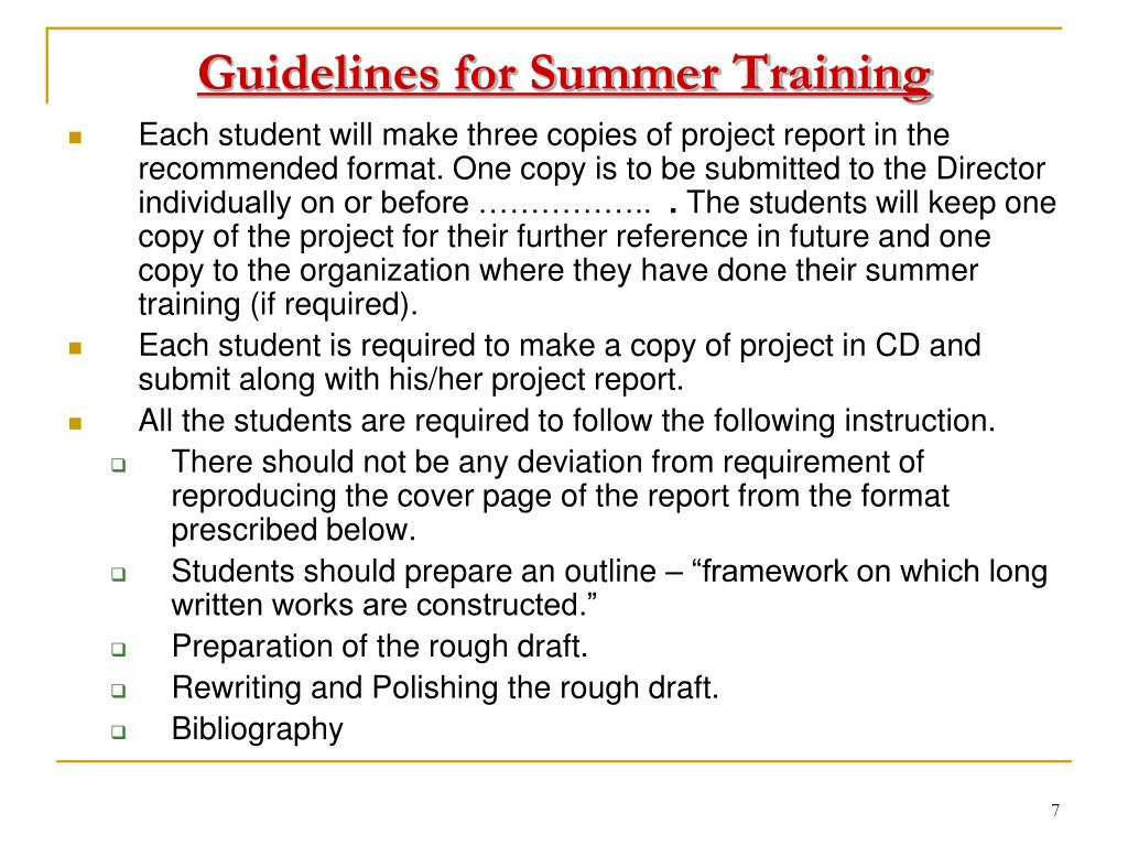 Guidelines for Summer Training