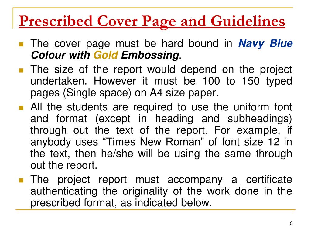 Prescribed Cover Page and Guidelines