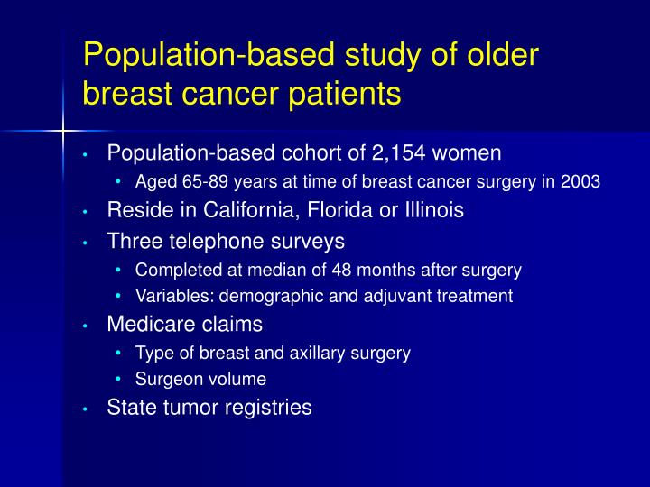 Population-based study of older breast cancer patients