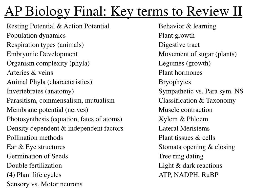 AP Biology Final: Key terms to Review II