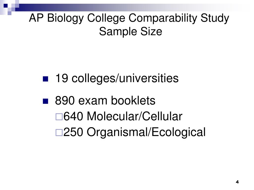 AP Biology College Comparability Study
