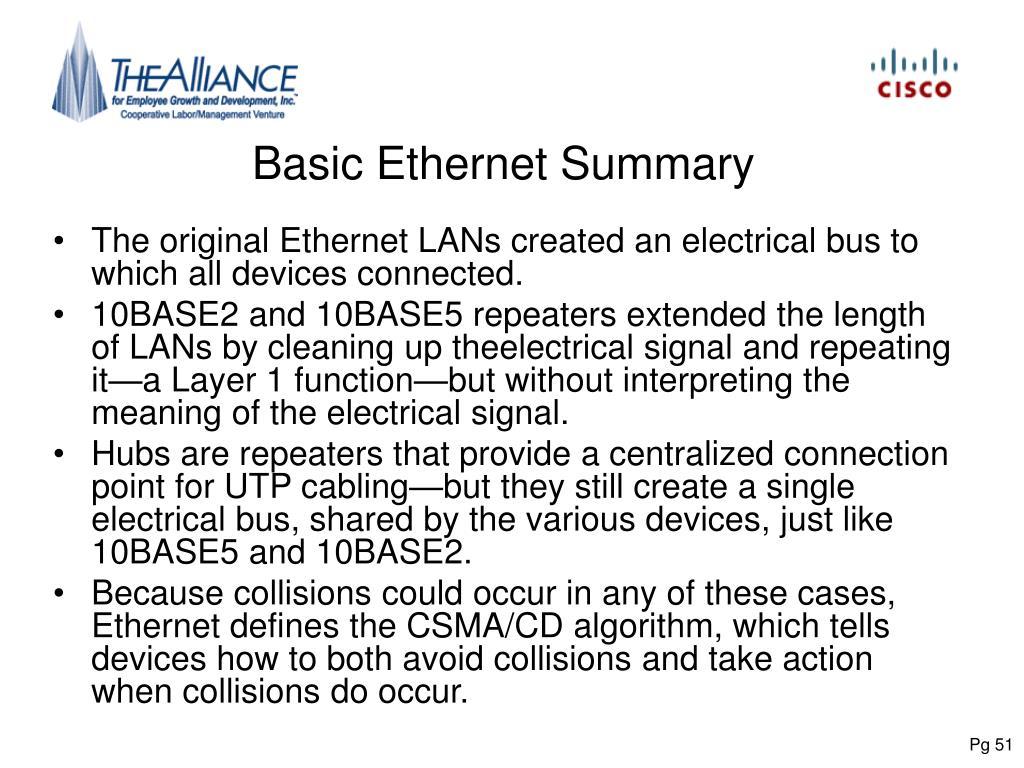 Basic Ethernet Summary