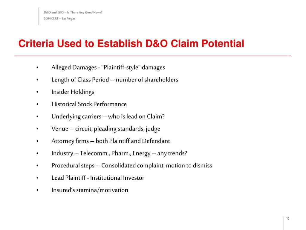 Criteria Used to Establish D&O Claim Potential
