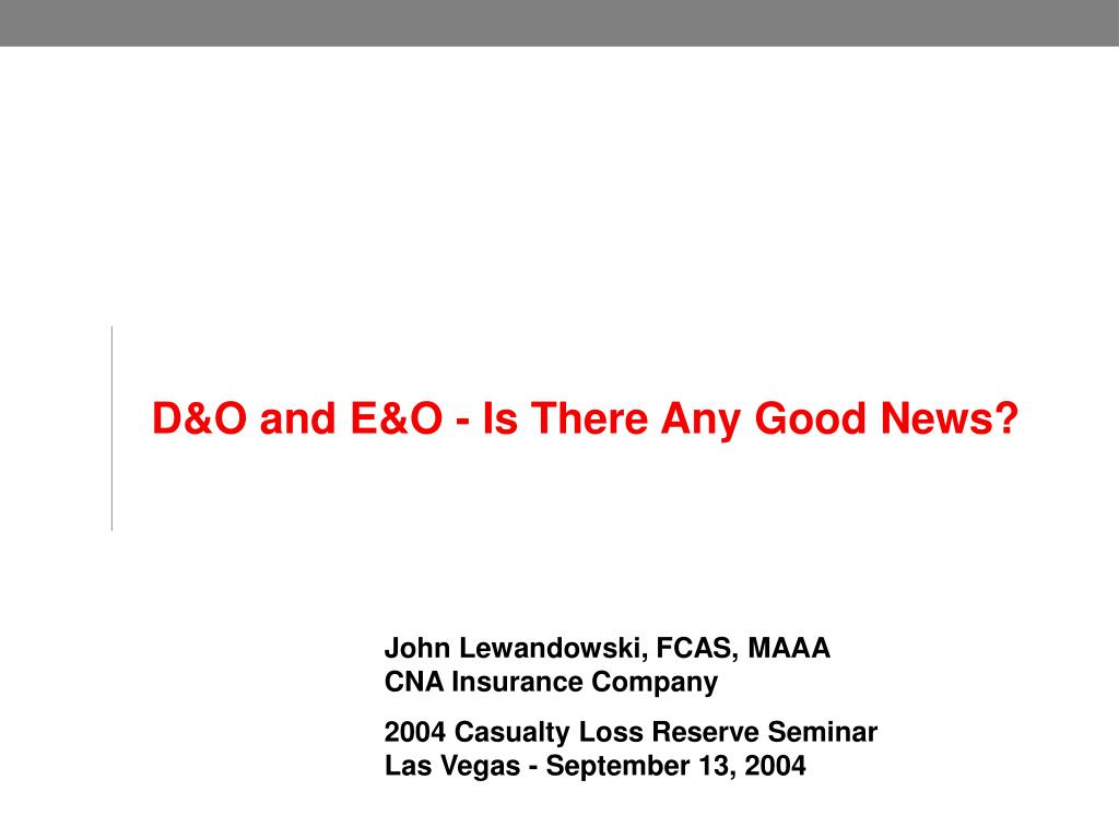 D&O and E&O - Is There Any Good News?