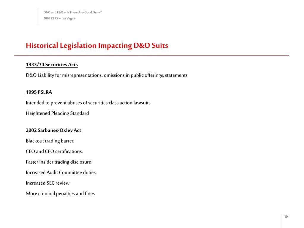 Historical Legislation Impacting D&O Suits