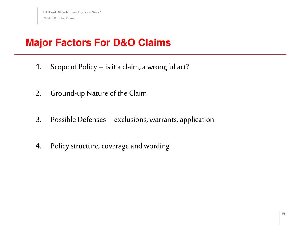 Major Factors For D&O Claims