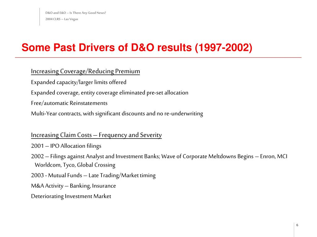 Some Past Drivers of D&O results (1997-2002)