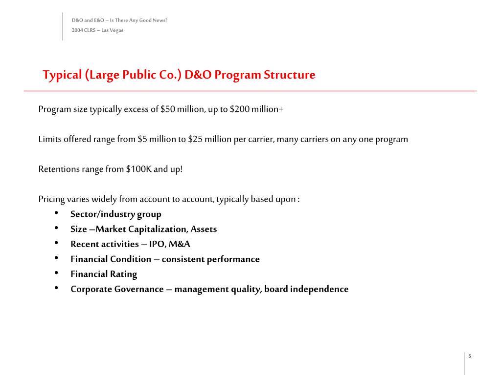 Typical (Large Public Co.) D&O Program Structure
