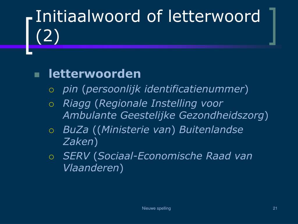 Initiaalwoord of letterwoord (2)