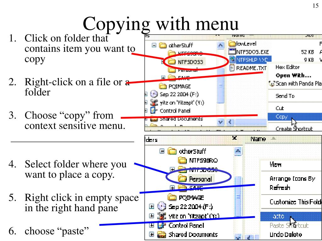Copying with menu