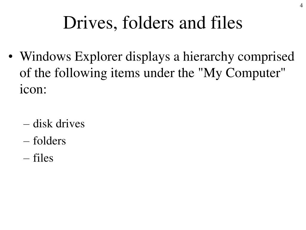 Drives, folders and files