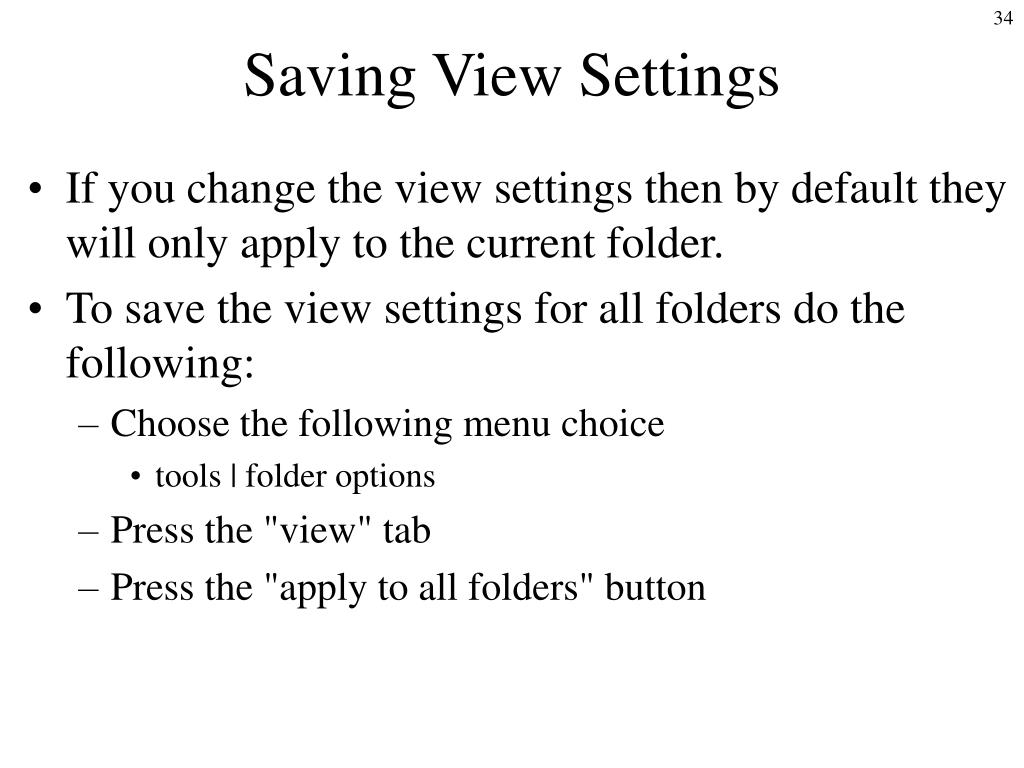 Saving View Settings