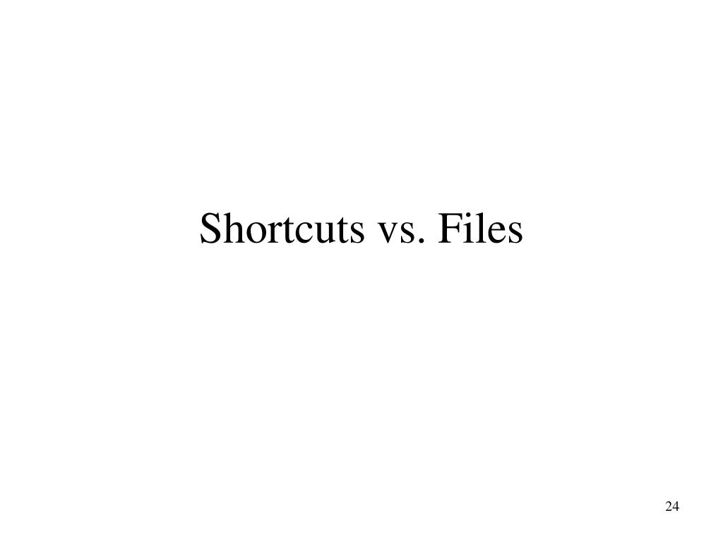 Shortcuts vs. Files