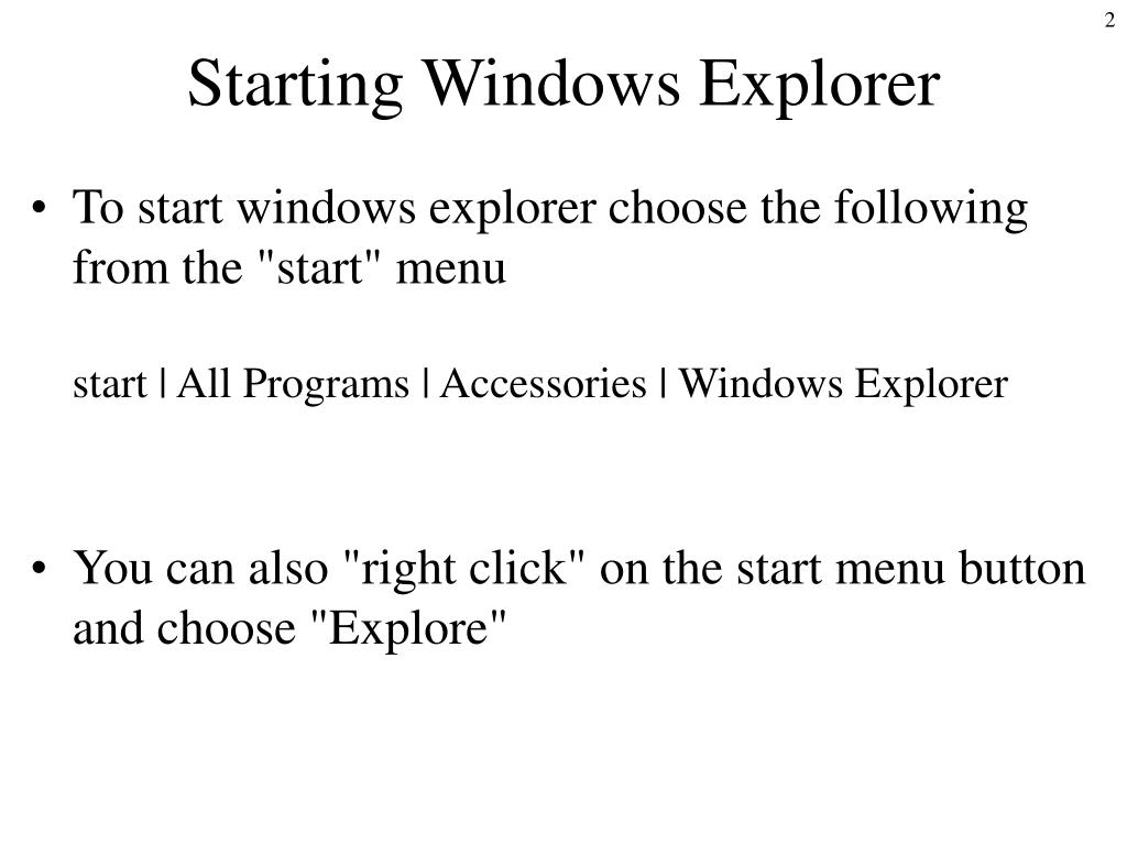 Starting Windows Explorer