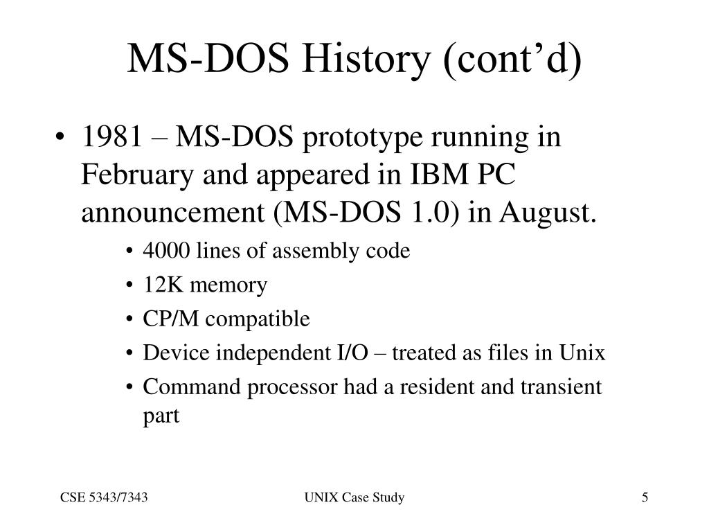 MS-DOS History (cont'd)