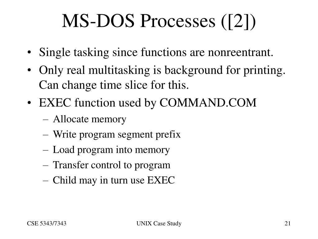 MS-DOS Processes ([2])