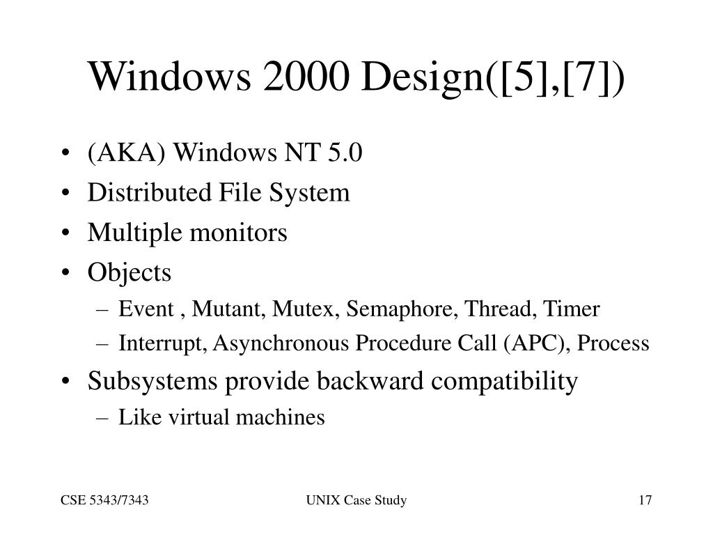 Windows 2000 Design([5],[7])