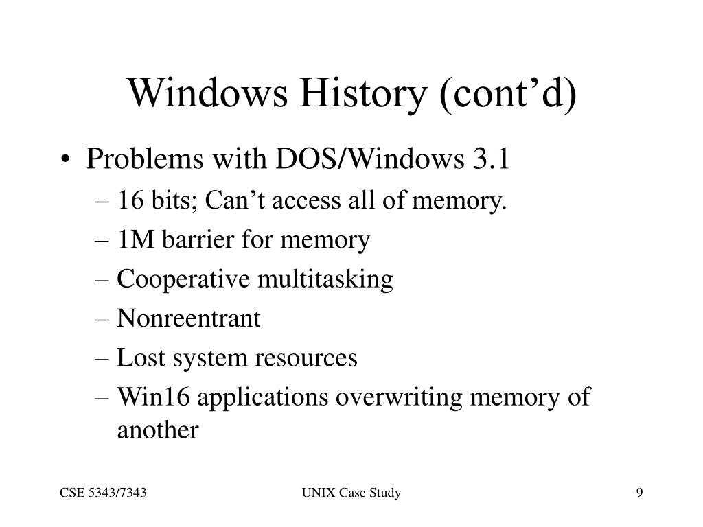 Windows History (cont'd)