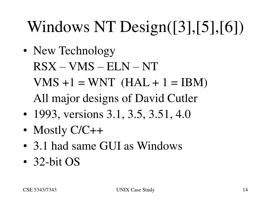 Windows NT Design([3],[5],[6])
