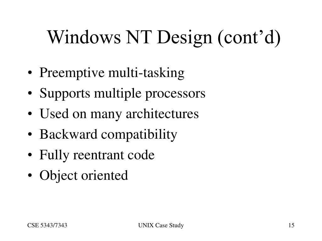 Windows NT Design (cont'd)