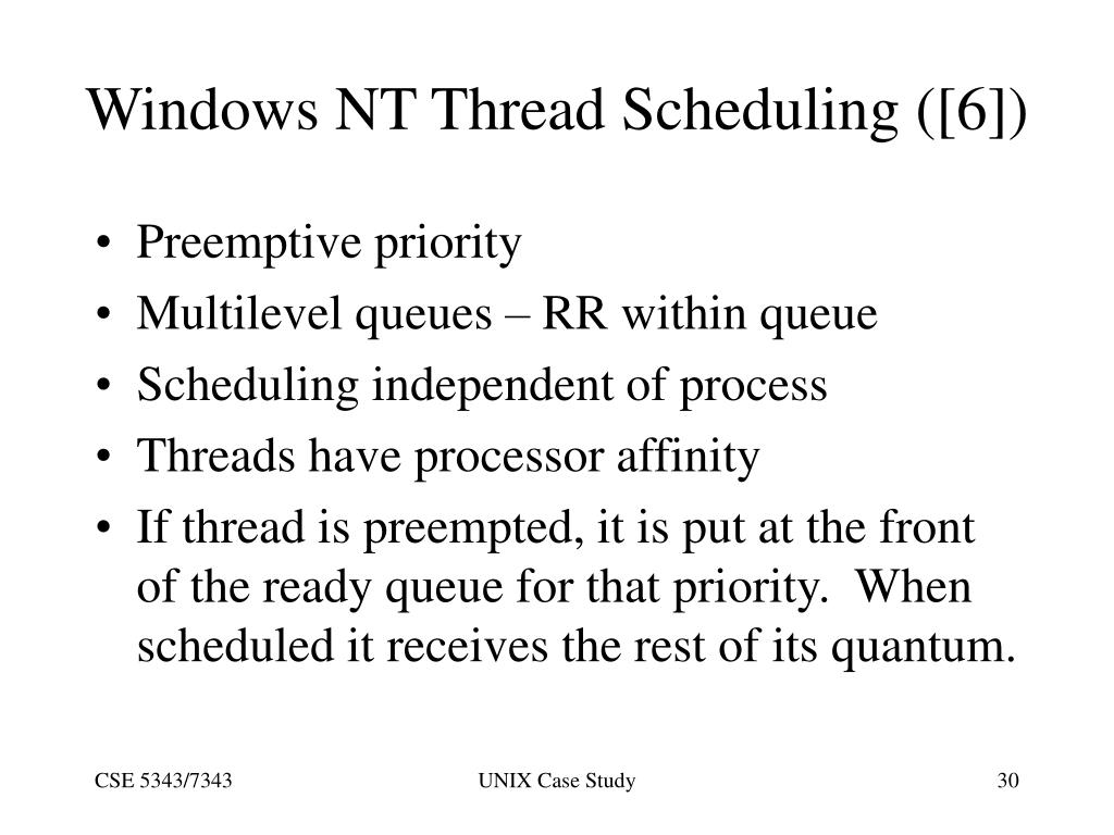 Windows NT Thread Scheduling ([6])