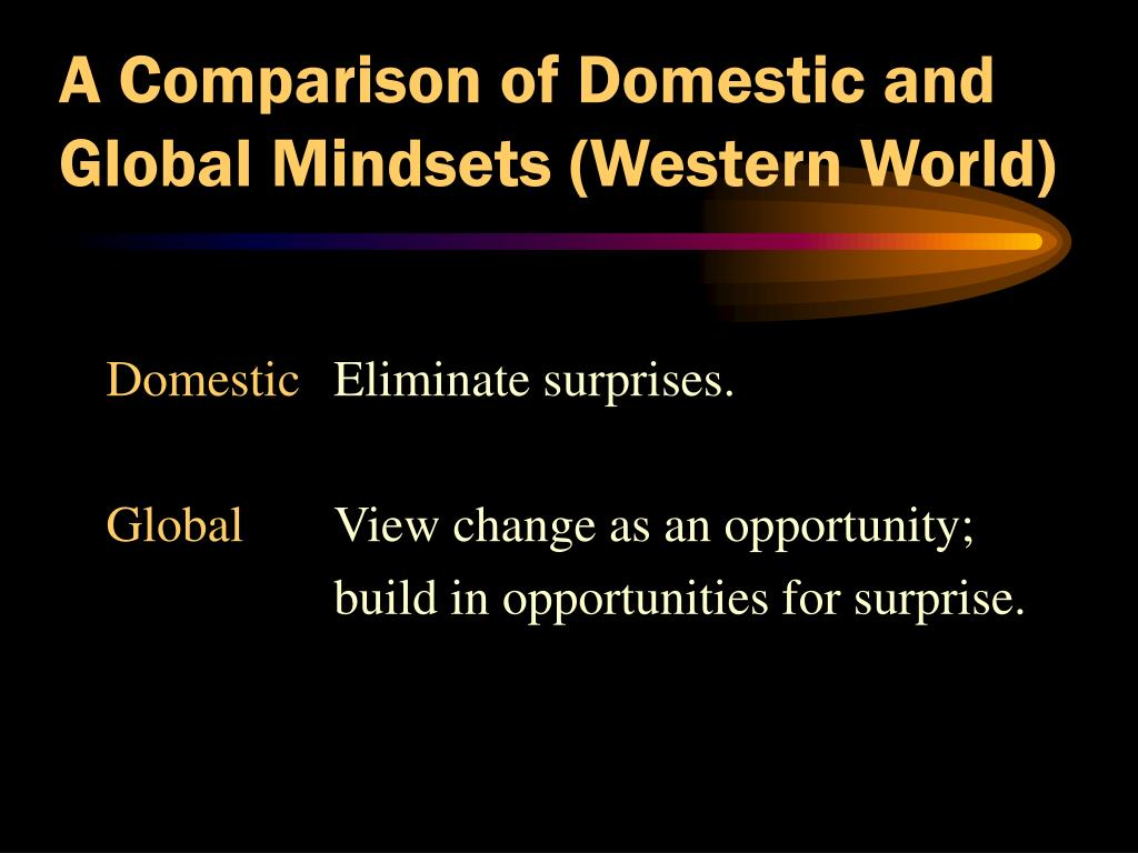 A Comparison of Domestic and Global Mindsets (Western World)