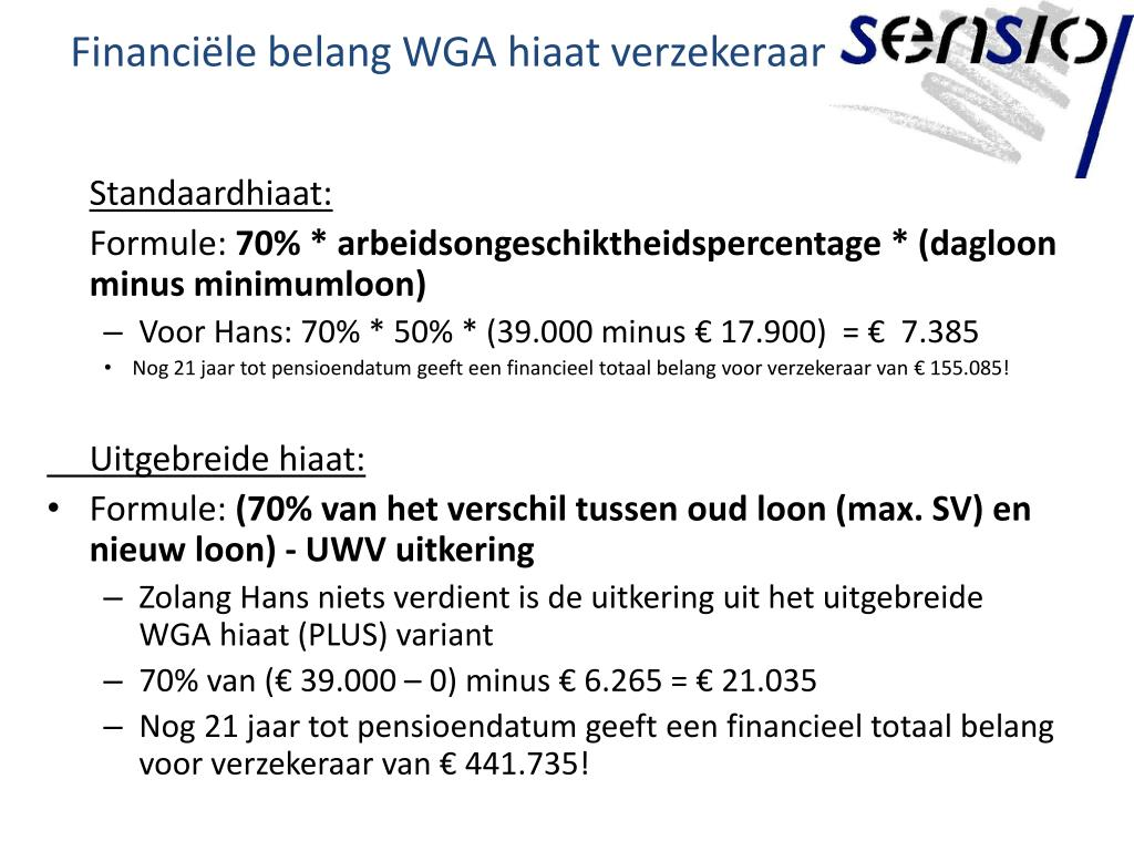 Financiële belang WGA hiaat verzekeraar