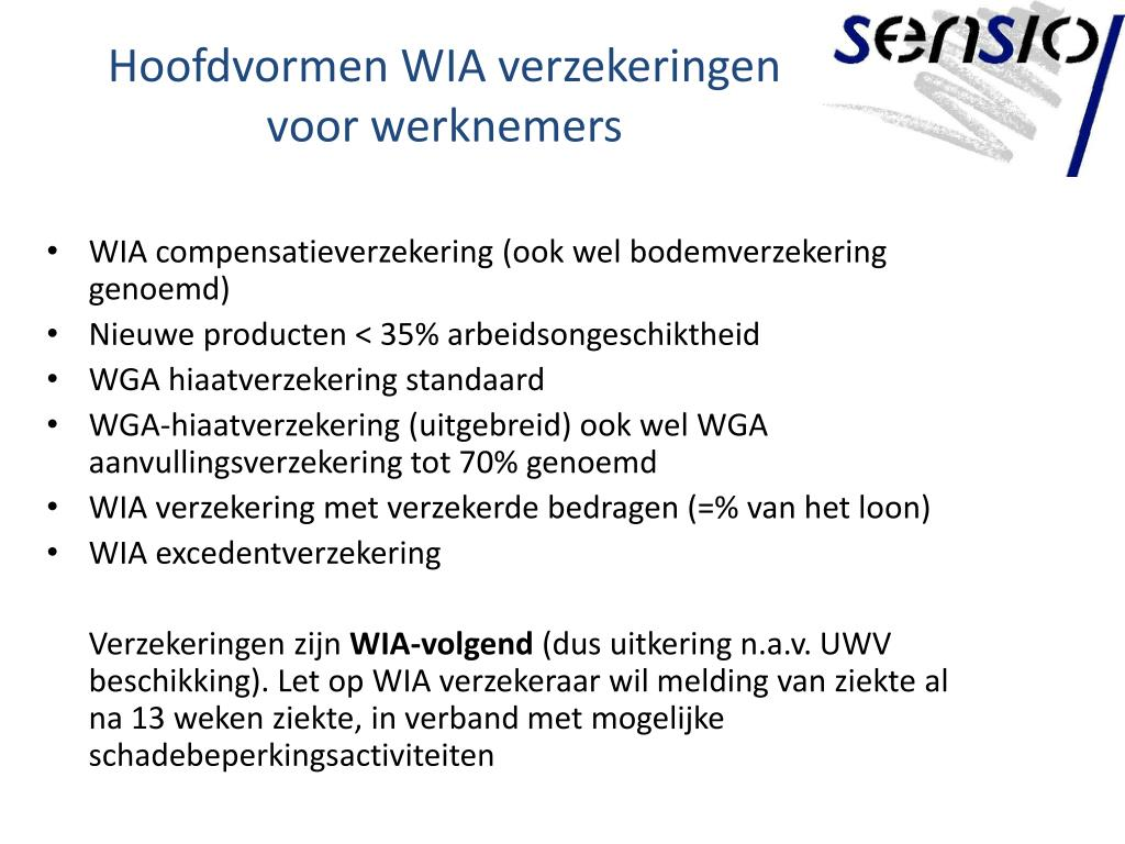 Hoofdvormen WIA verzekeringen voor werknemers