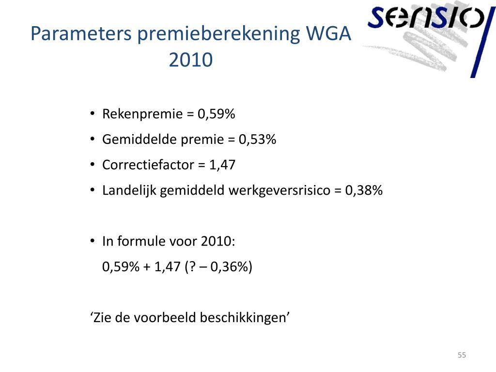 Parameters premieberekening WGA 2010