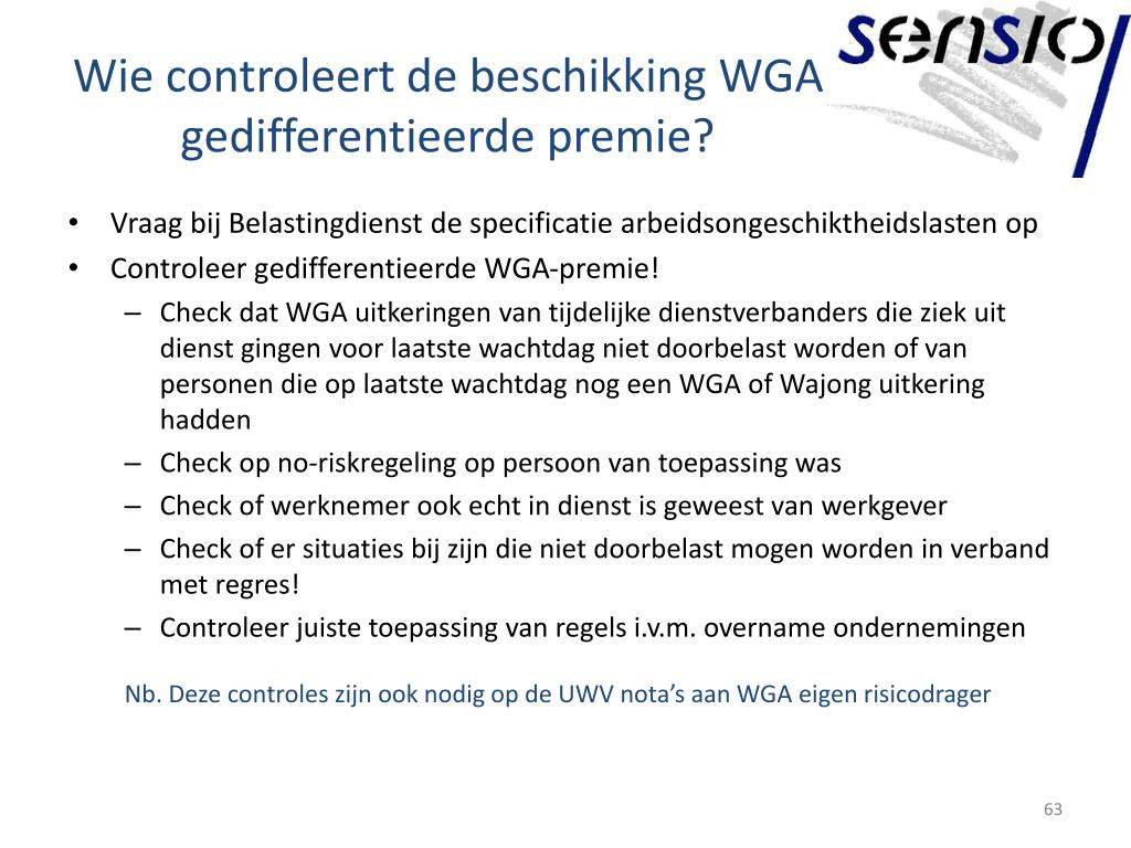 Wie controleert de beschikking WGA gedifferentieerde premie?