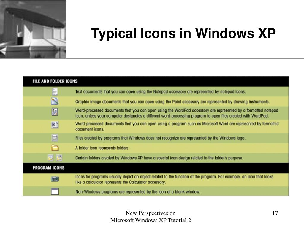 Typical Icons in Windows XP
