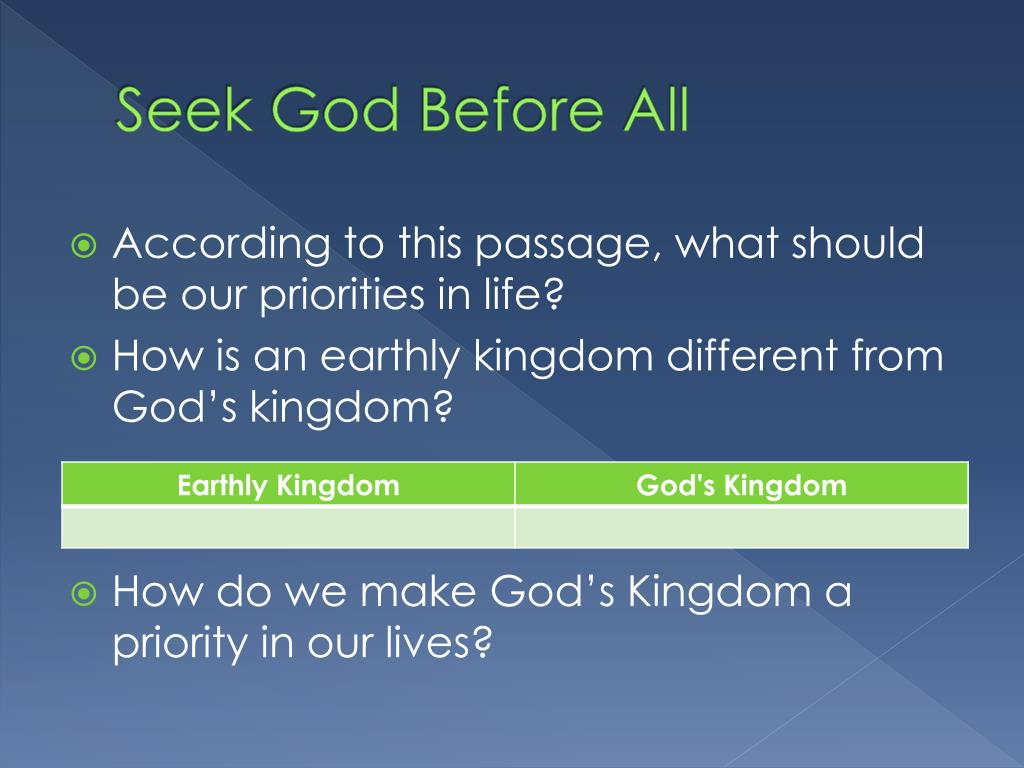 Seek God Before All