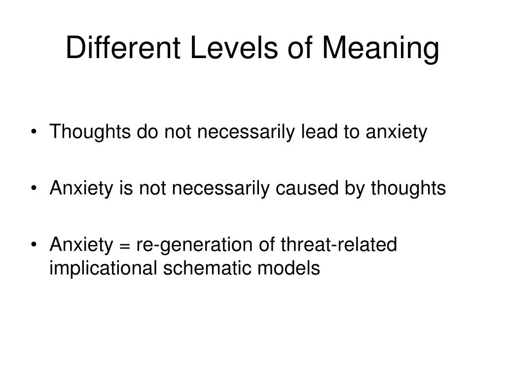 Different Levels of Meaning