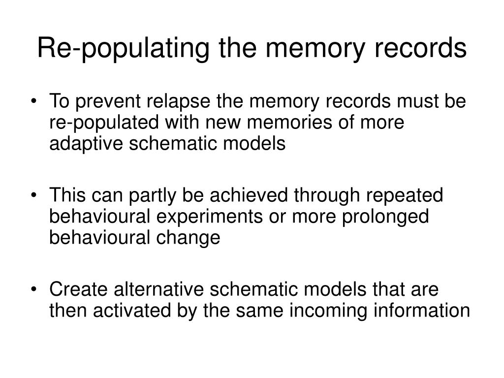 Re-populating the memory records